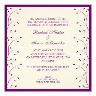 Creme & Purple Floral Wedding Invitiation Announcement
