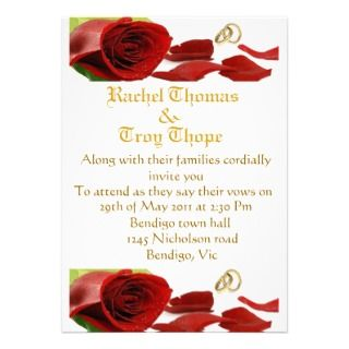 Red roses and wedding ring personalized invitations