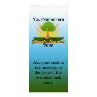Custom Family Reunion, Green Tree with Sun Rays Personalized Rack Card
