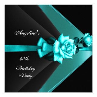 Elegant 40th Birthday Party Black Teal Blue Rose Announcements