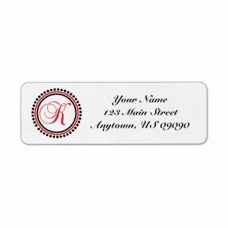 Dot Circle Mongram Address Label (Red / Black)