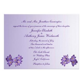 Purple Spring Floral Wedding Announcement