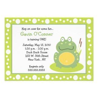 Fiona the Green Pond Frog *PHOTO* Birthday 5x7 Custom Invite