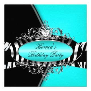 Zebra Black Turquoise Aqua Teal Blue Party Custom Invite