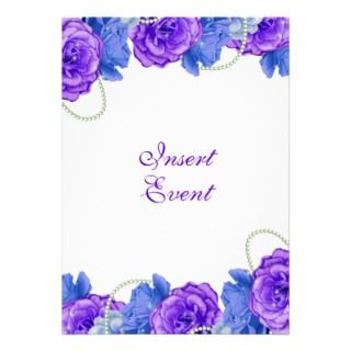 Purple blue rose birthday wedding personalized announcements