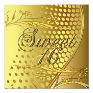 Sweet 16 Gold Elegant Invitation