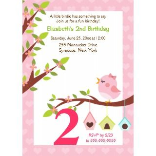 Little Birdie Birthday Invitation (Any Age) Pink_invitation