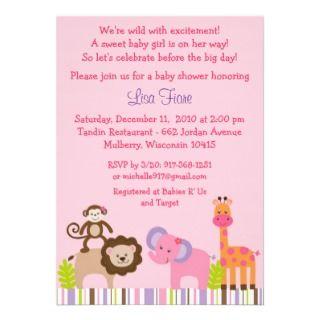 Bubblegum Jungle Animal Baby Shower Invitations
