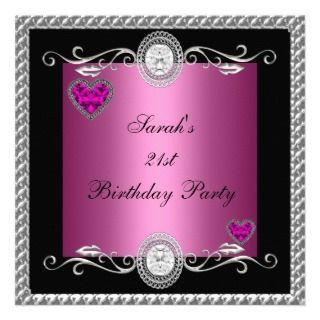 21st Birthday Pink Black Heart Jewel Invitation