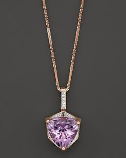 Pink Amethyst Pendant Necklace with Diamonds in 14K Rose Gold, .22 ct