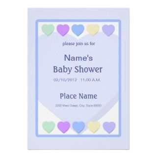 Blue Boy Baby Shower Pastel Hearts Invitation