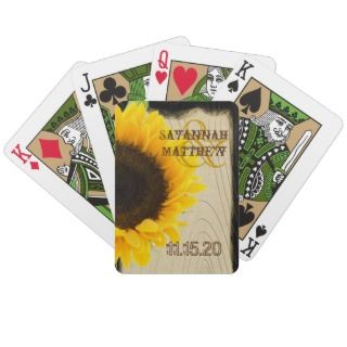 Sunflower Personalized Wedding Playing Card Gifts Card Deck