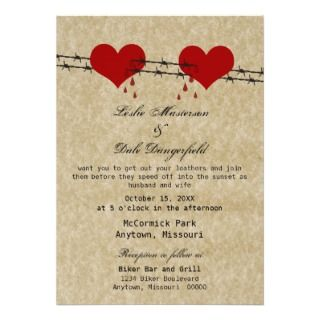 Barbed Wire Hearts Tattoo Biker Wedding Invite