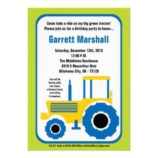 5x7 Yellow Blue Farm Tractor Birthday Invitation