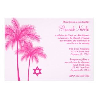 Hot Pink Palm Tree Tropical Bat Mitzvah Invitation