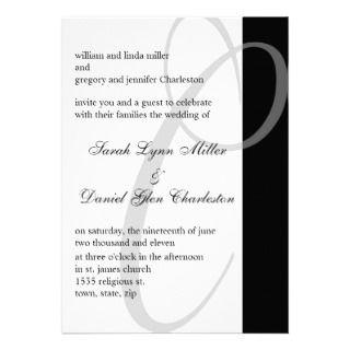 Wedding Invitations Black And White Monogram C