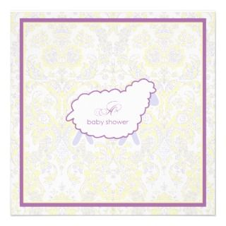 Little Lamb Baby Shower Invitation  Purple