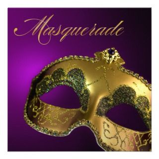 Gold and Teal Classic Masquerade Party Announcements