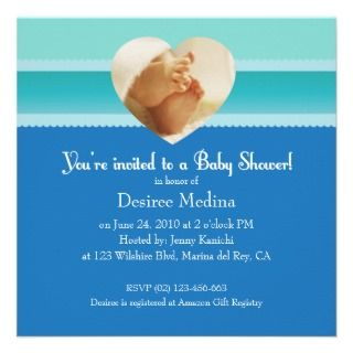Blue Little Feet Baby Shower for Baby Boy Custom Announcements