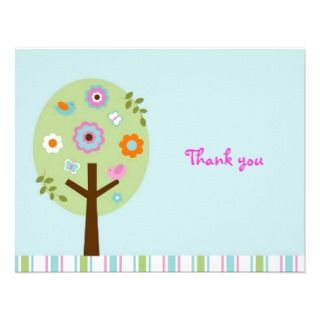 Tree Bird Butterfly Thank You Note Cards Invitation