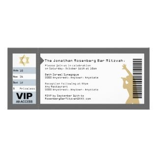 Concert Ticket Bar Mitzvah Invitation in Gray