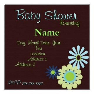Retro Flowers Blue and Brown Baby Boy Shower Personalized