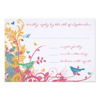 Raspberry Wild Flower Bird Wedding Custom Invitation