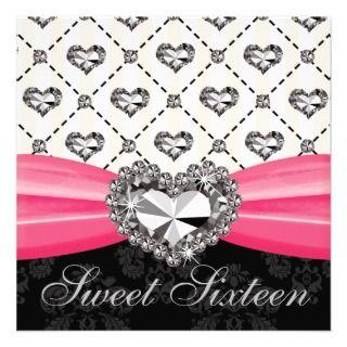 Diamond Heart Hot Pink Sweet Sixteen Invitations D