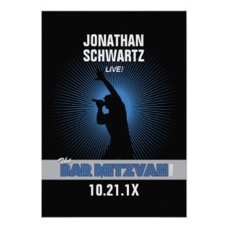 Rock Star Bar Mitzvah Place Card, Blck/Silver/Blue Custom Invites