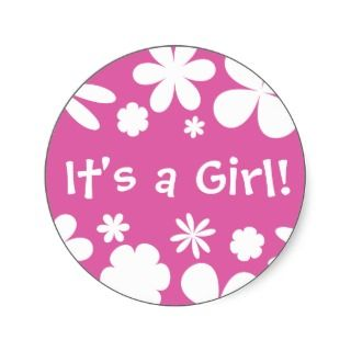 Its a Girl Flower Power Envelope Sticker Seal