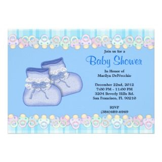CUTE Sweet Plush Baby Booties Baby Shower Personalized Invites