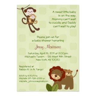 Baby Luv Jungle Animal Baby Shower Invitations