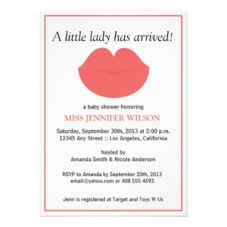 Little Lady Baby Shower Custom Invitations