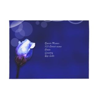 vintage blue rose antique flower wedding envelopes