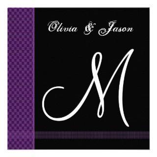 Purple & Black Monogram Wedding Invitation Checks