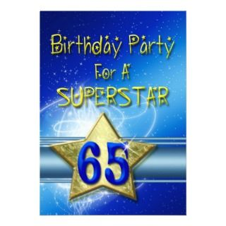 65th Birthday party Invitation for a Superstar.