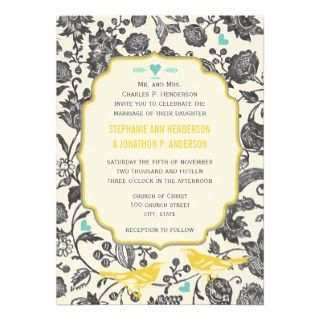 Vintage Mint Gray Yellow Floral Love Bird Wedding Custom Invites