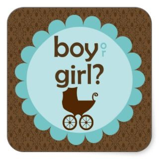 Elegant Baby Carriage Gender Reveal Party Square Sticker