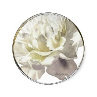 White Peony Wedding Invitation Seal Round Sticker