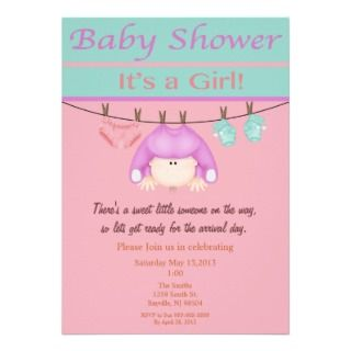 Pink And Green Girl Baby Shower Invitation