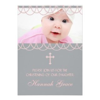 Pink Gray Pearl Cross Baby Girl Photo Christening Personalized Invite