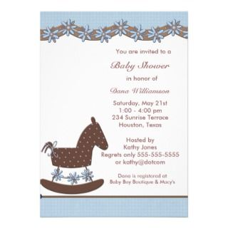 Rocking Horse Boy shower Personalized Invitations