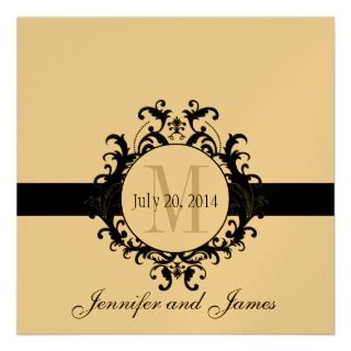Gold Black Monogram Save the Date Wedding Invitations