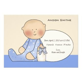 Sitting Baby Photo Birth Announcement