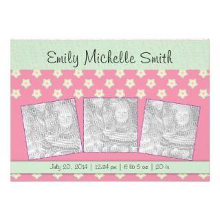 Newborn Baby Girl Green Dark Pink Stars Announceme Custom Invites