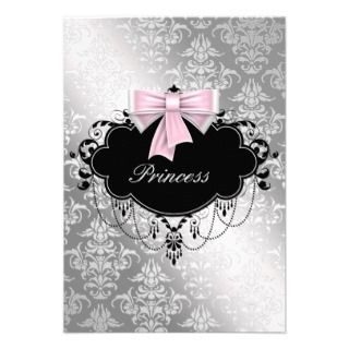 Silver Pink Black Princess Baby Girl Shower RSVP Custom Announcement
