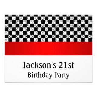 Birthday Party Red & White Check Pattern Personalized Invites