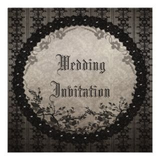 Vintage Black Lace & Sequins Gothic Wedding Invites