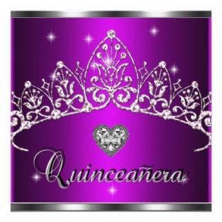 Birthday Zebra Purple Silver Tiara Custom Invitation