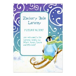 Skiing Snowboarder Penguin Baby Birth Announcement